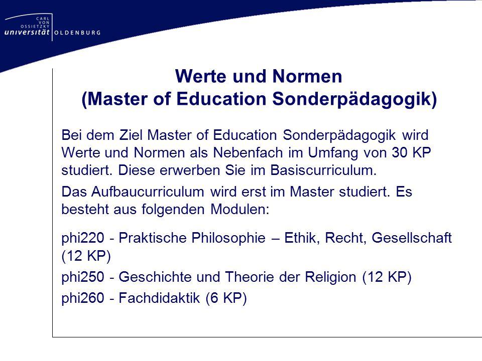Werte und Normen (Master of Education Sonderpädagogik)