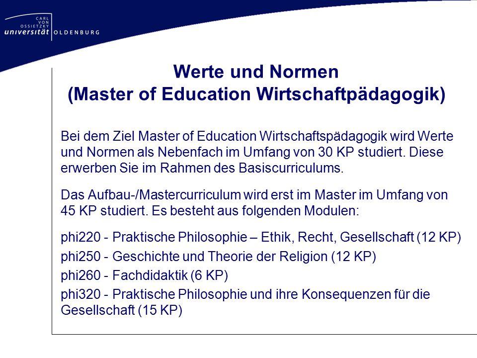 Werte und Normen (Master of Education Wirtschaftpädagogik)