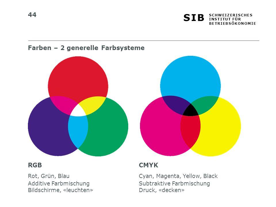 Farben – 2 generelle Farbsysteme