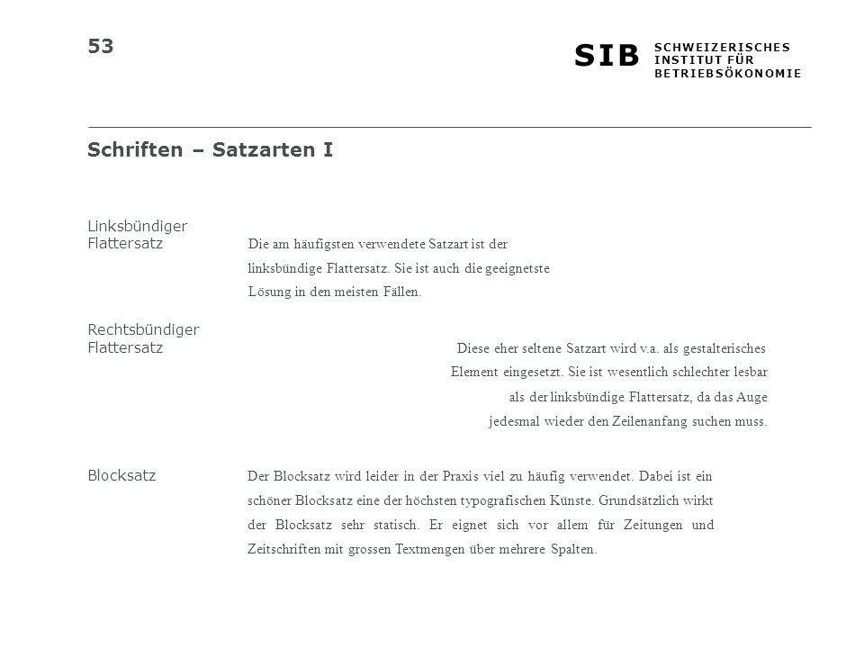 Schriften – Satzarten I