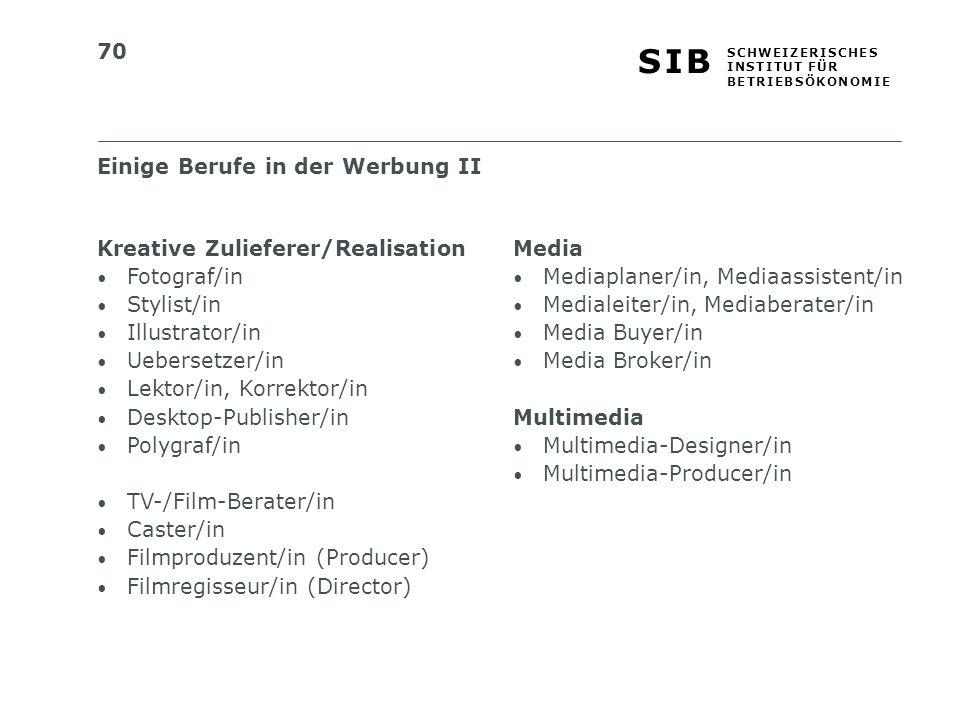Einige Berufe in der Werbung II