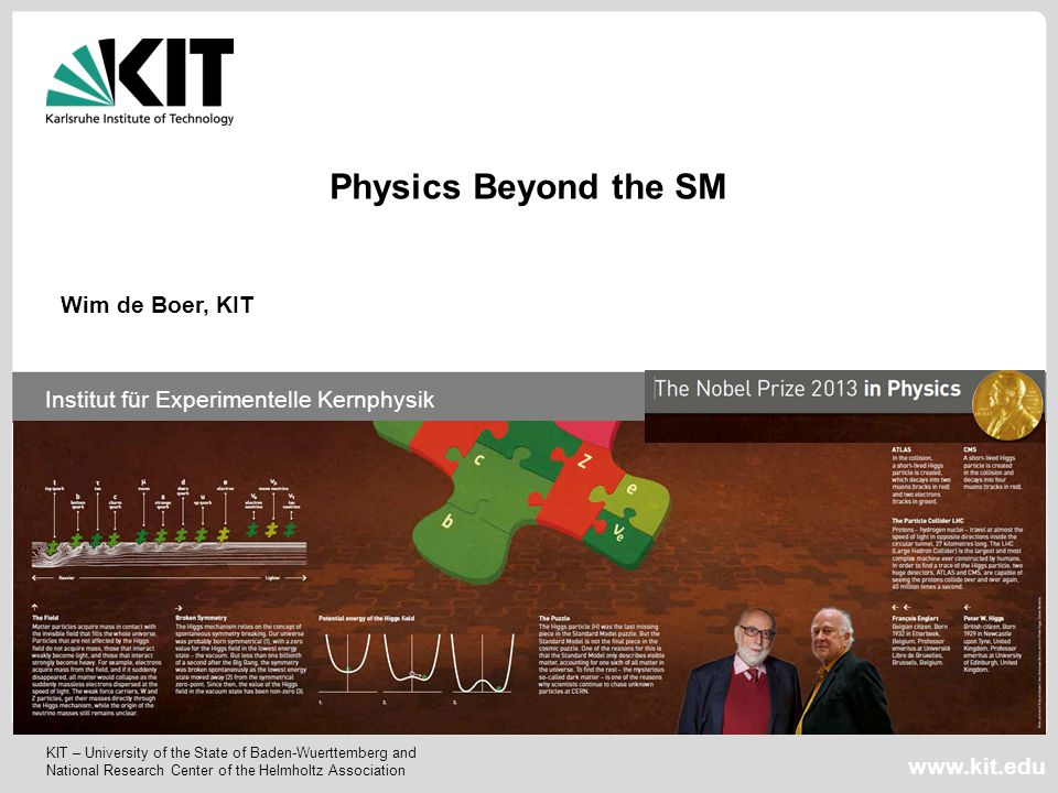 Physics Beyond the SM Wim de Boer, KIT