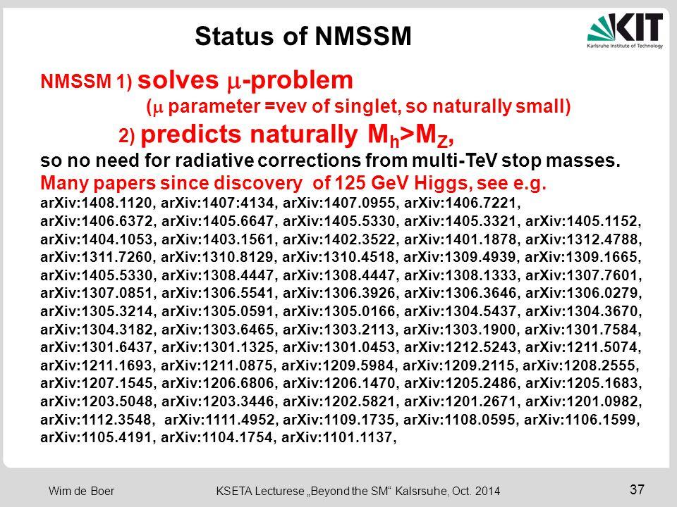 Status of NMSSM NMSSM 1) solves m-problem