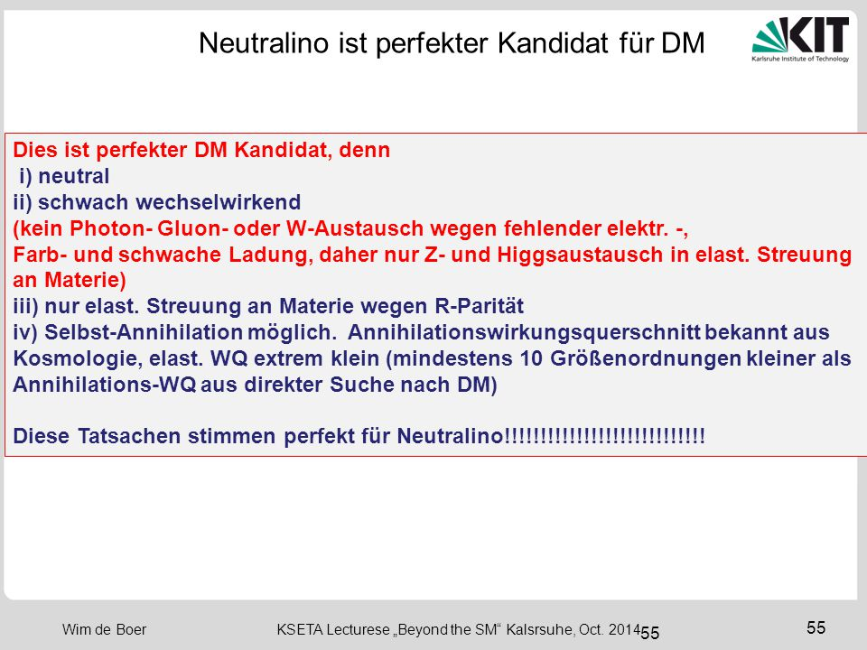Neutralino ist perfekter Kandidat für DM