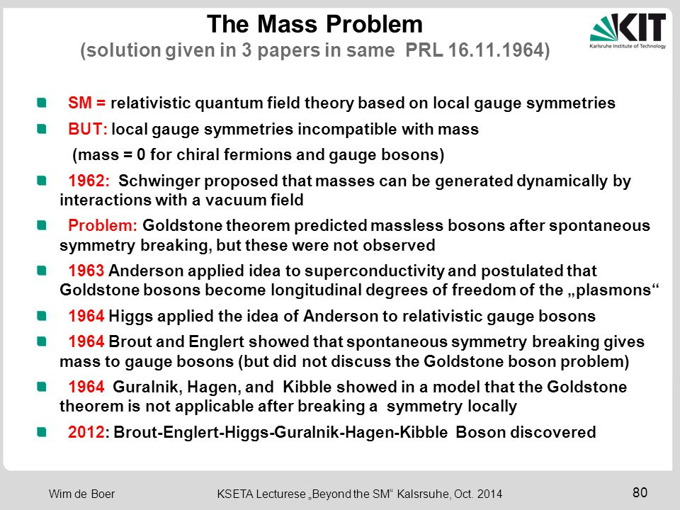 The Mass Problem (solution given in 3 papers in same PRL 16.11.1964)
