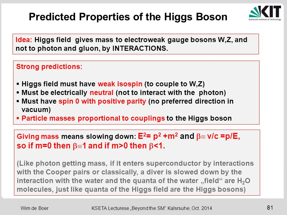 Predicted Properties of the Higgs Boson