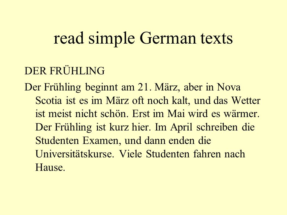 read simple German texts