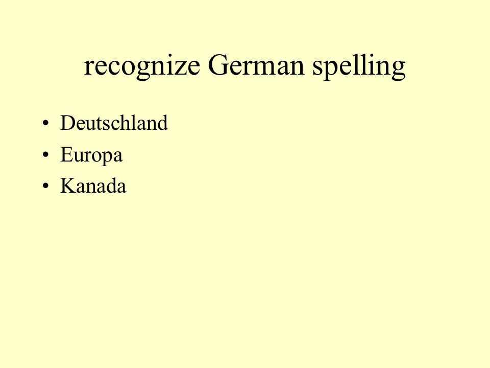 recognize German spelling