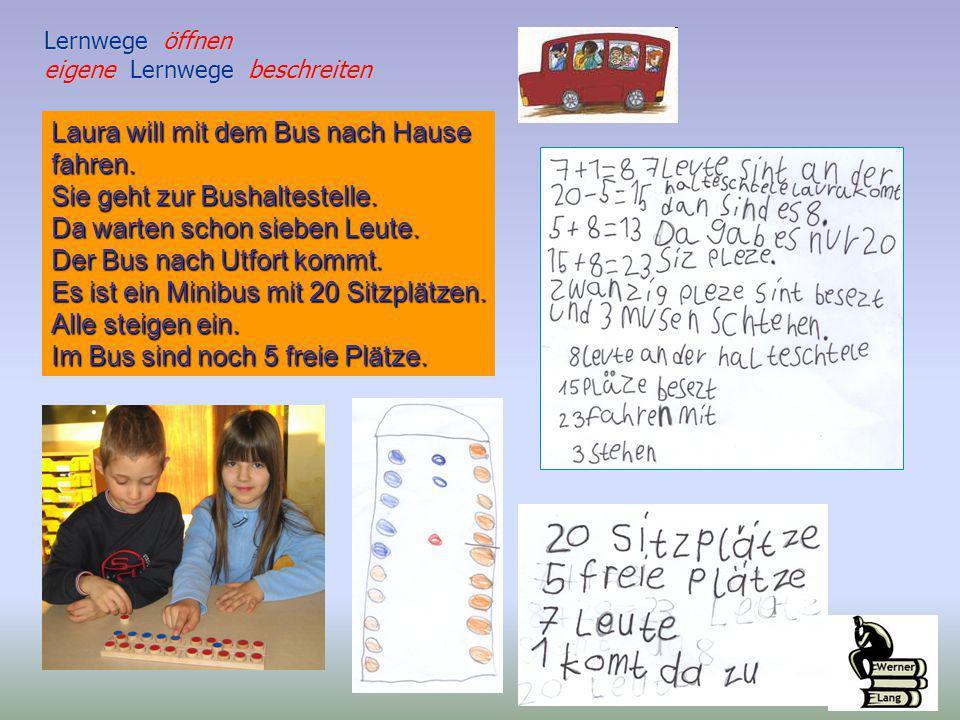 Laura will mit dem Bus nach Hause fahren. Sie geht zur Bushaltestelle.