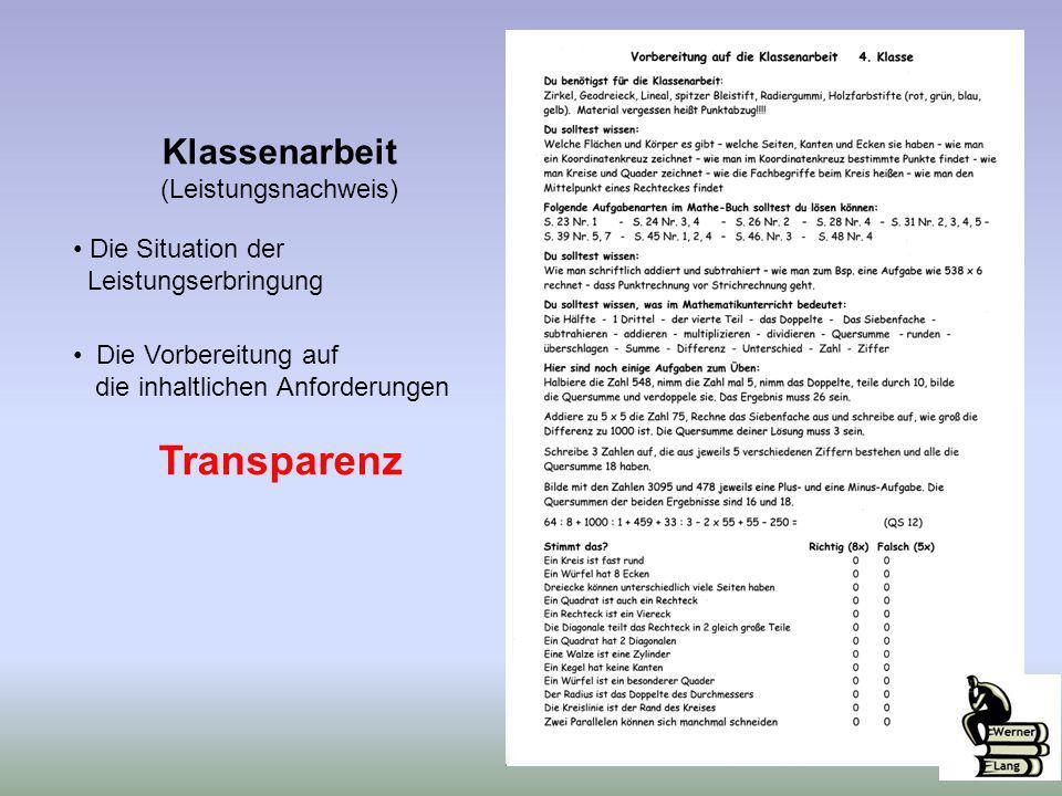 Transparenz Klassenarbeit (Leistungsnachweis) Die Situation der