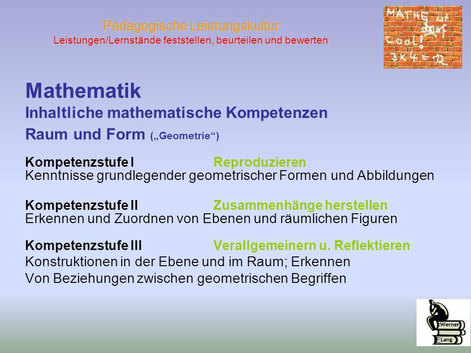 Mathematik Inhaltliche mathematische Kompetenzen