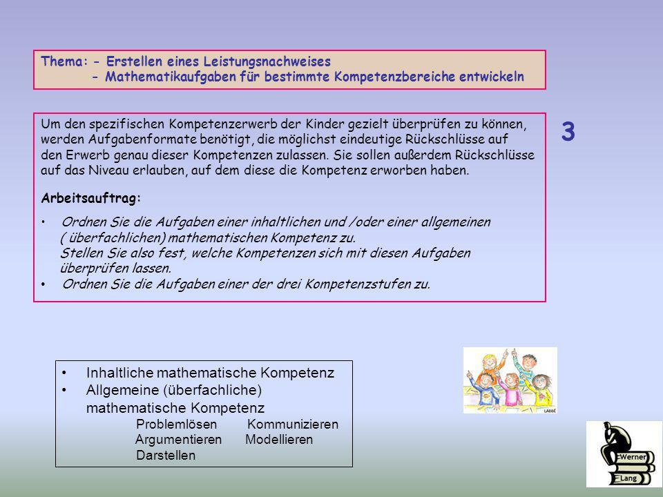3 Inhaltliche mathematische Kompetenz