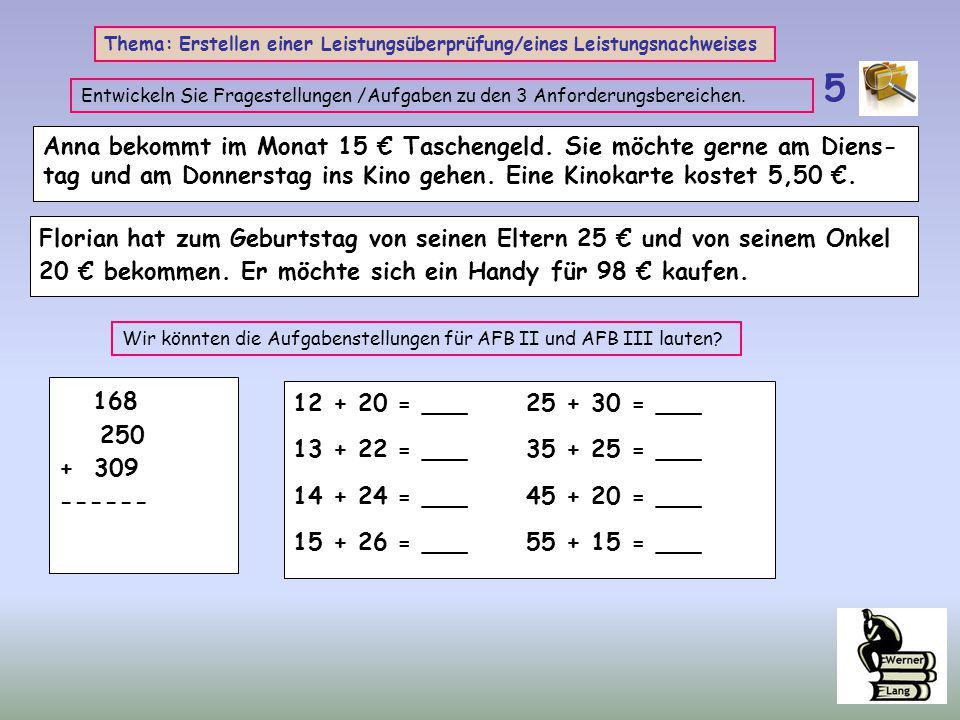 Thema: Erstellen einer Leistungsüberprüfung/eines Leistungsnachweises