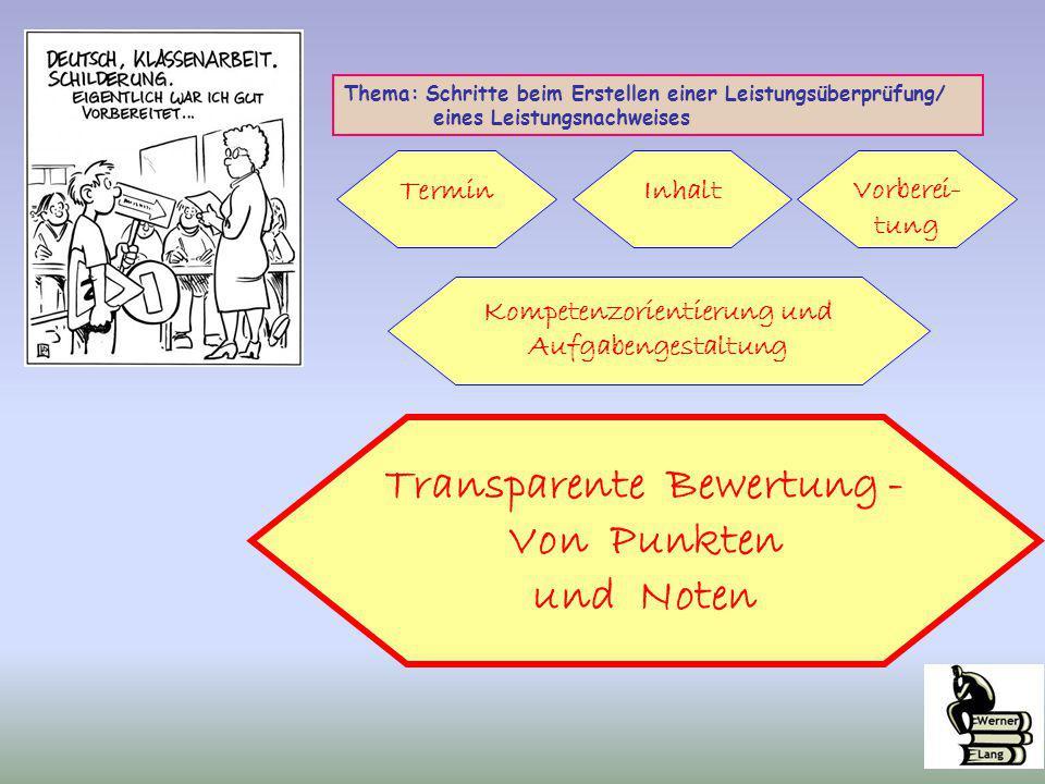 Kompetenzorientierung und Aufgabengestaltung Transparente Bewertung -