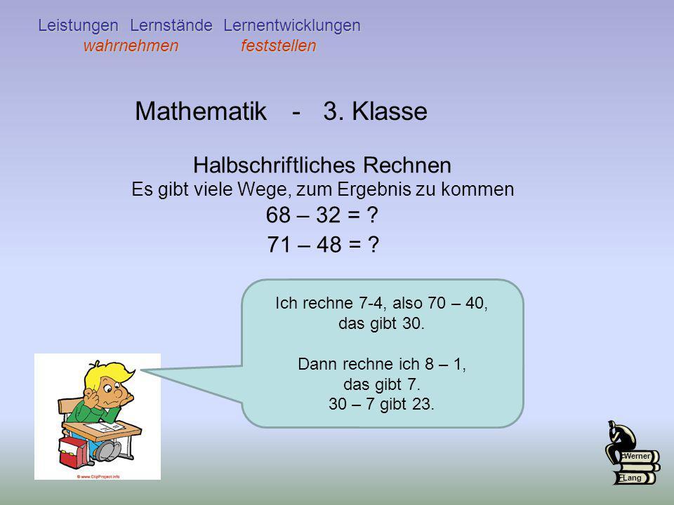 Mathematik - 3. Klasse Halbschriftliches Rechnen 68 – 32 =