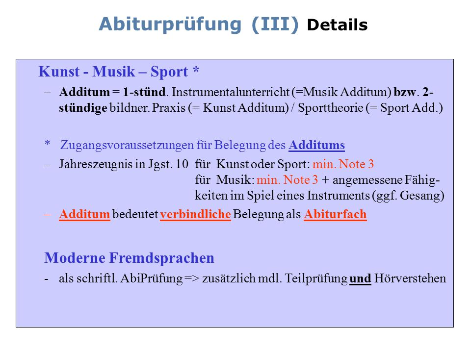 Abiturprüfung (III) Details