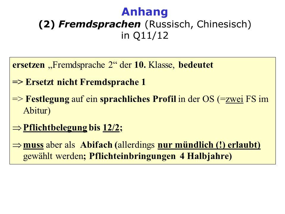 Anhang (2) Fremdsprachen (Russisch, Chinesisch) in Q11/12