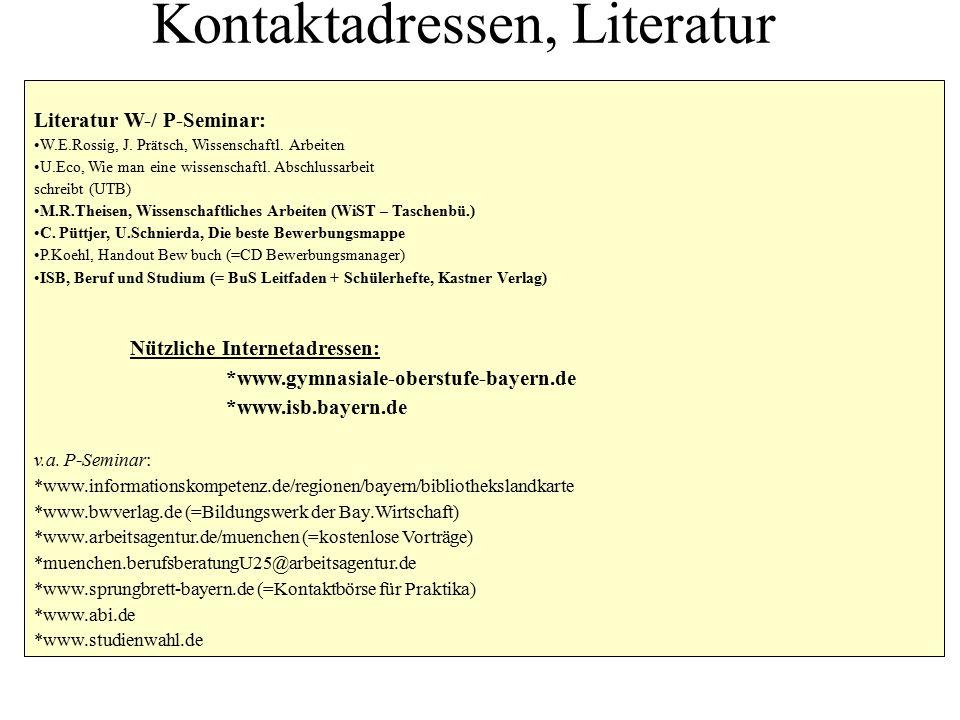 Kontaktadressen, Literatur