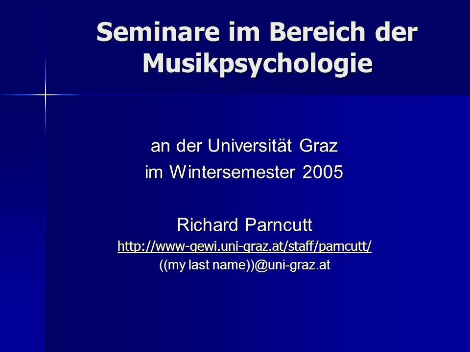 Seminare im Bereich der Musikpsychologie