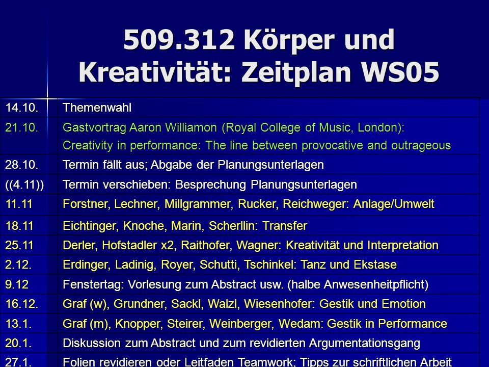 509.312 Körper und Kreativität: Zeitplan WS05