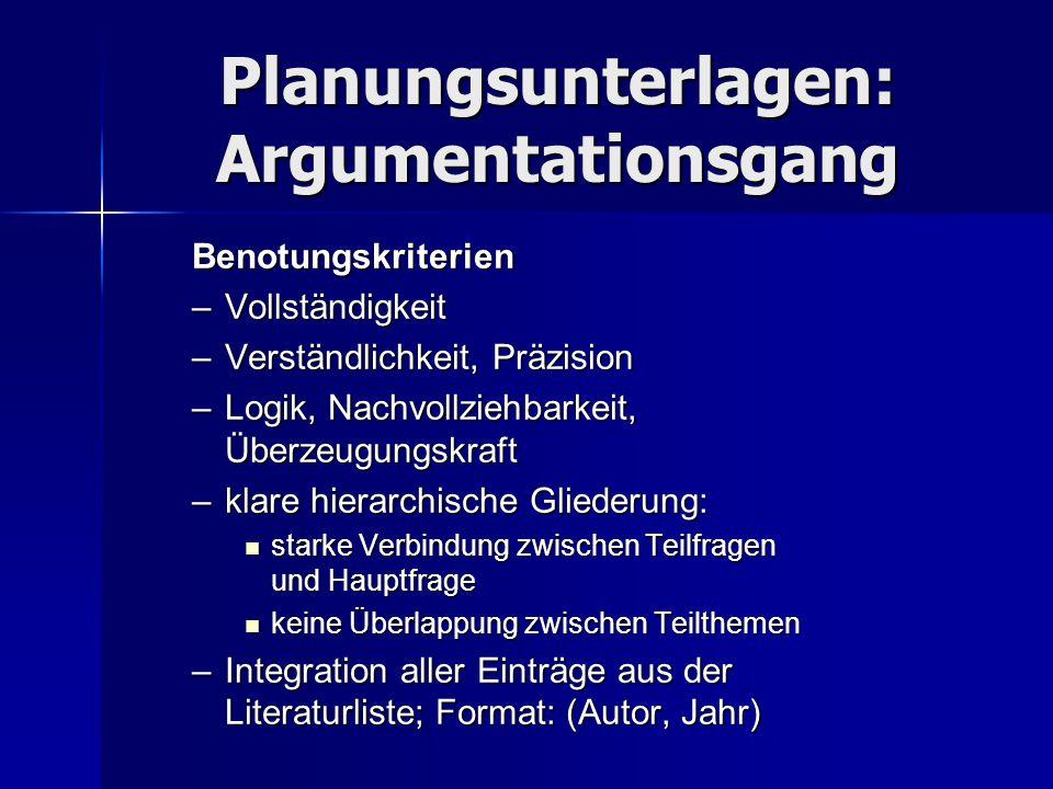 Planungsunterlagen: Argumentationsgang