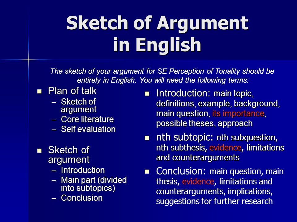 Sketch of Argument in English