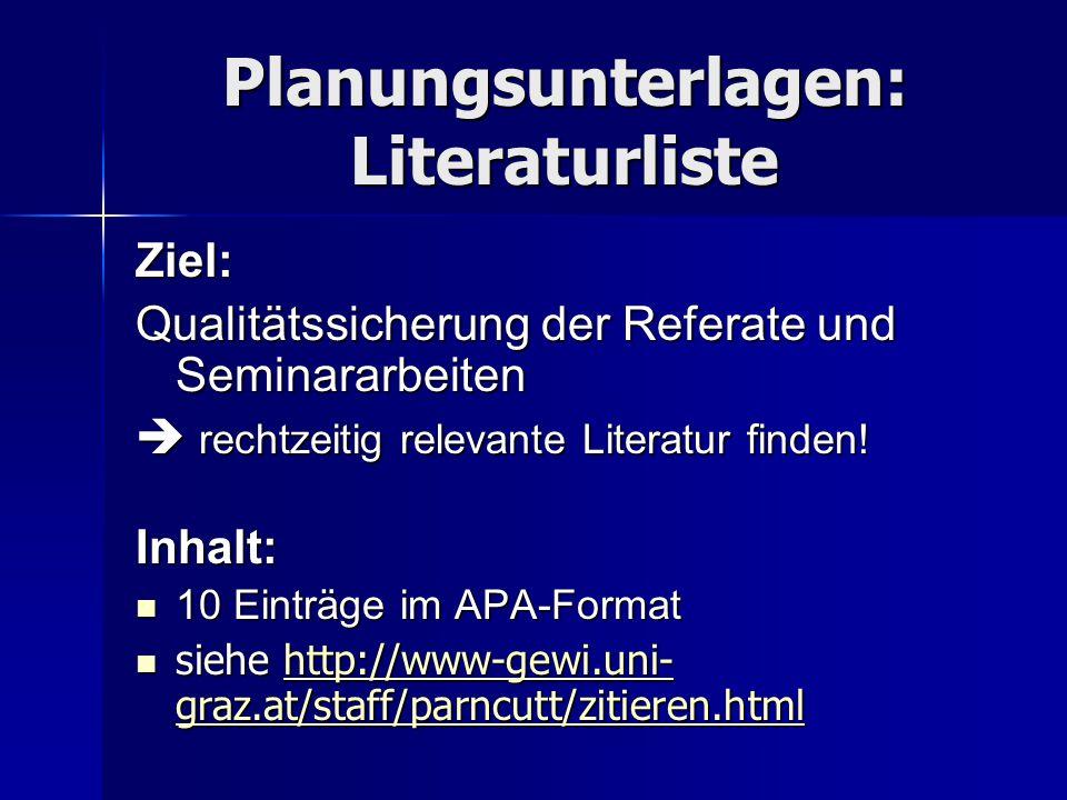 Planungsunterlagen: Literaturliste