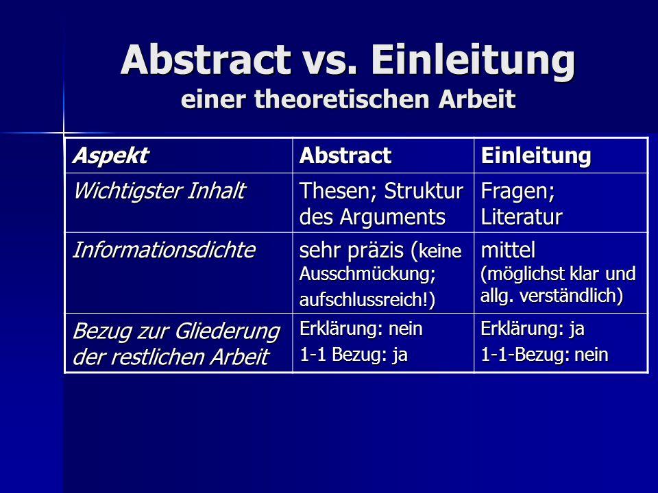 Abstract vs. Einleitung einer theoretischen Arbeit