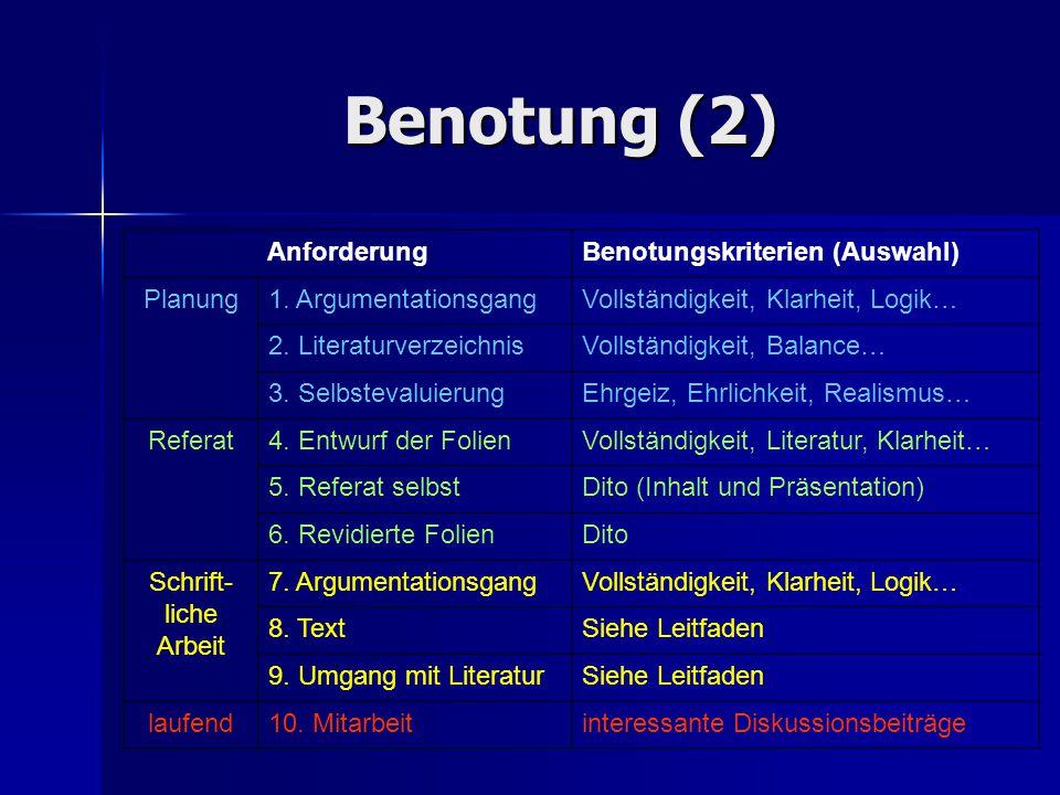 Benotung (2) Anforderung Benotungskriterien (Auswahl) Planung