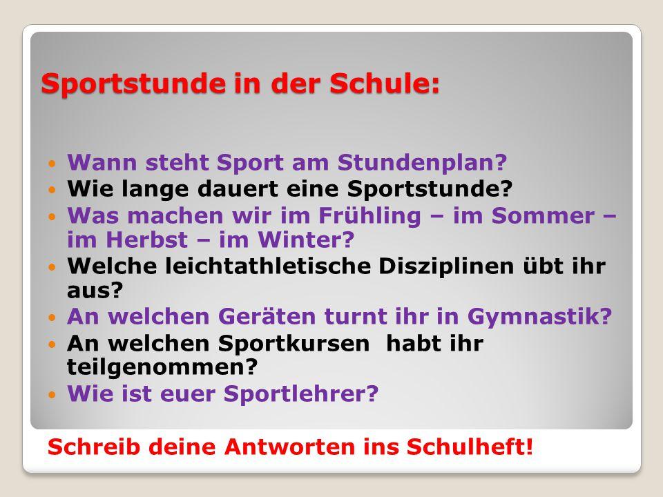 Sportstunde in der Schule: