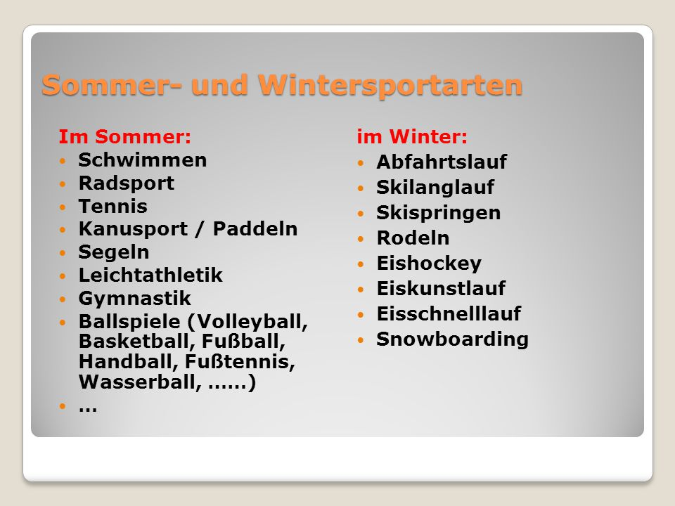 Sommer- und Wintersportarten