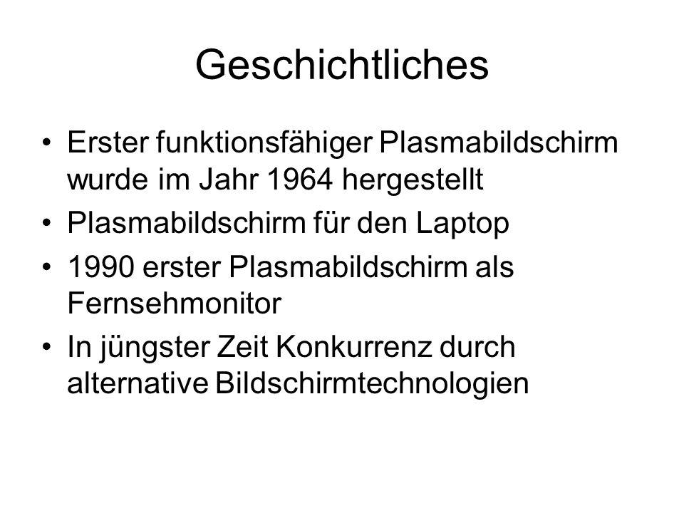 Geschichtliches Erster funktionsfähiger Plasmabildschirm wurde im Jahr 1964 hergestellt. Plasmabildschirm für den Laptop.