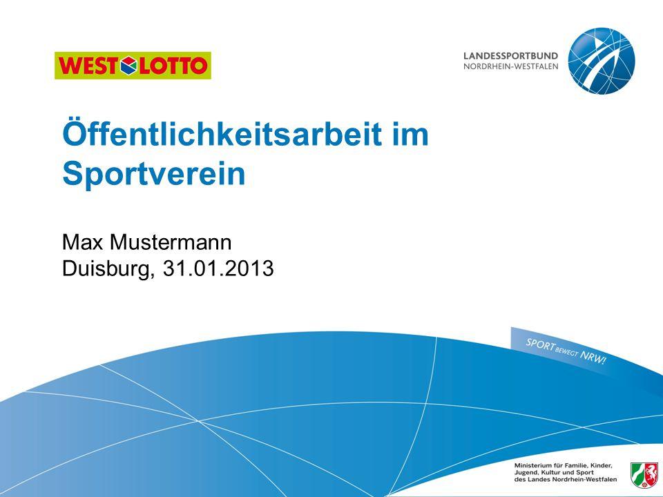 Öffentlichkeitsarbeit im Sportverein Max Mustermann Duisburg, 31. 01