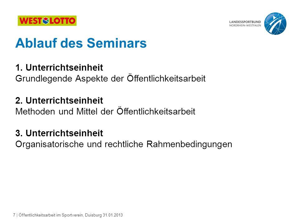 Ablauf des Seminars 1. Unterrichtseinheit Grundlegende Aspekte der Öffentlichkeitsarbeit 2.