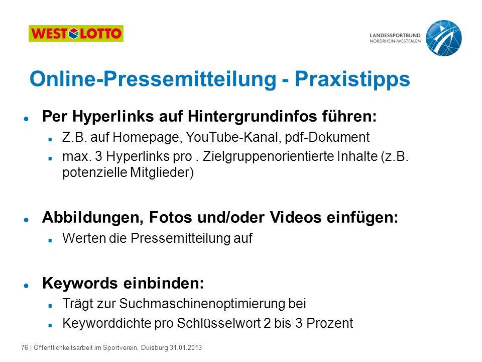 Online-Pressemitteilung - Praxistipps
