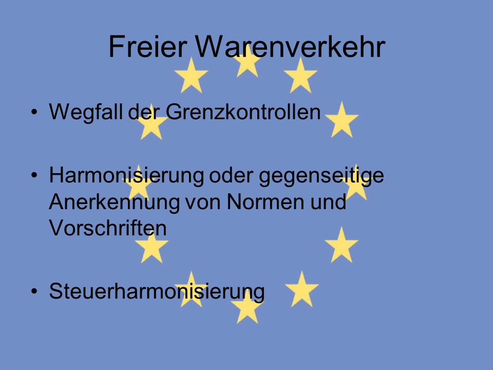 Freier Warenverkehr Wegfall der Grenzkontrollen