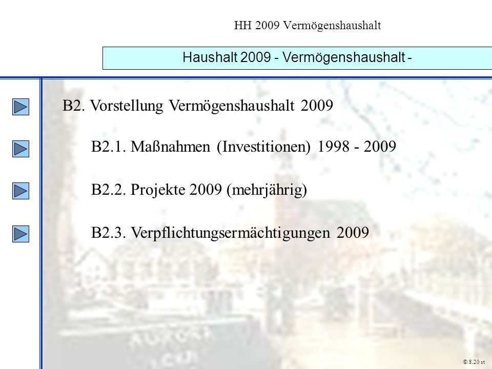 Haushalt 2009 - Vermögenshaushalt -