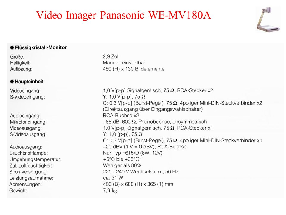 Video Imager Panasonic WE-MV180A
