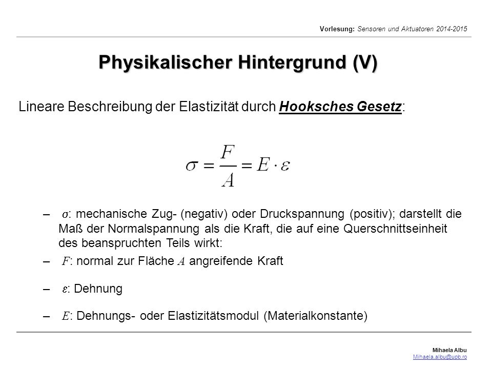Physikalischer Hintergrund (V)