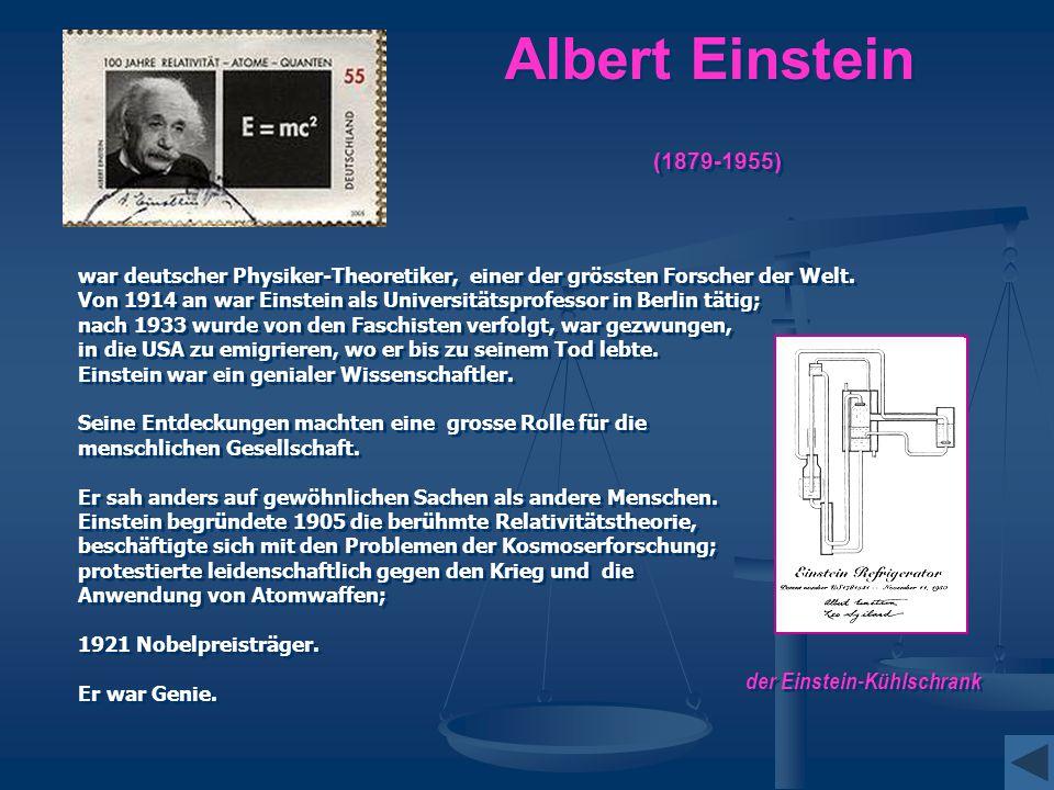 Albert Einstein (1879-1955) der Einstein-Kühlschrank