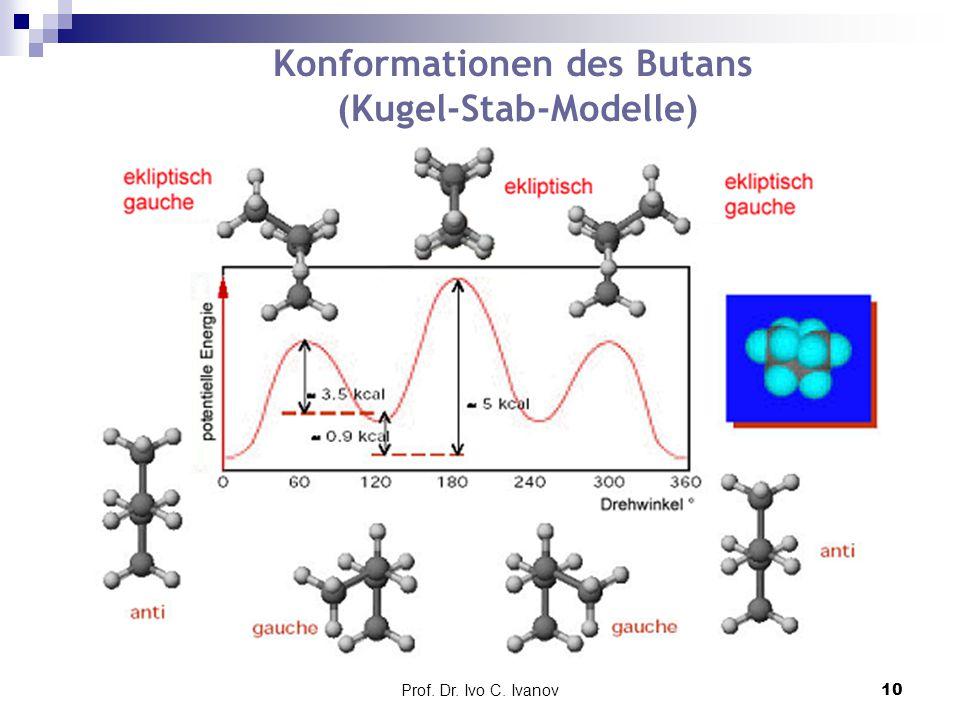 Konformationen des Butans (Kugel-Stab-Modelle)