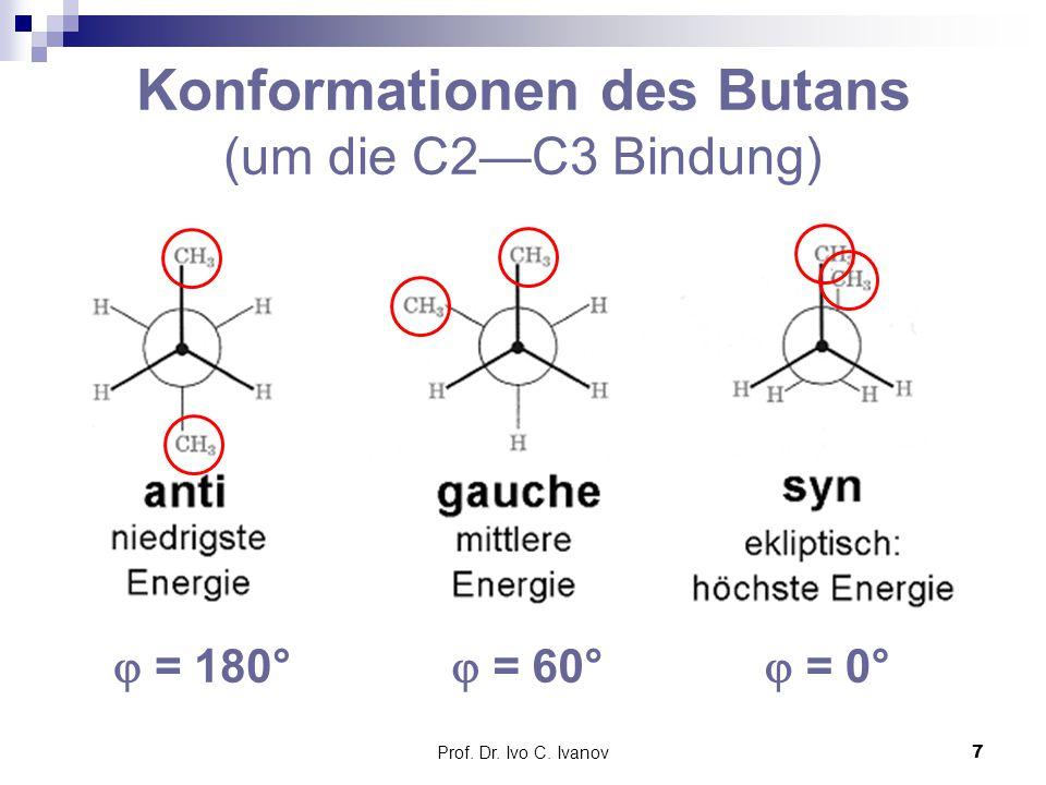 Konformationen des Butans (um die C2—C3 Bindung)