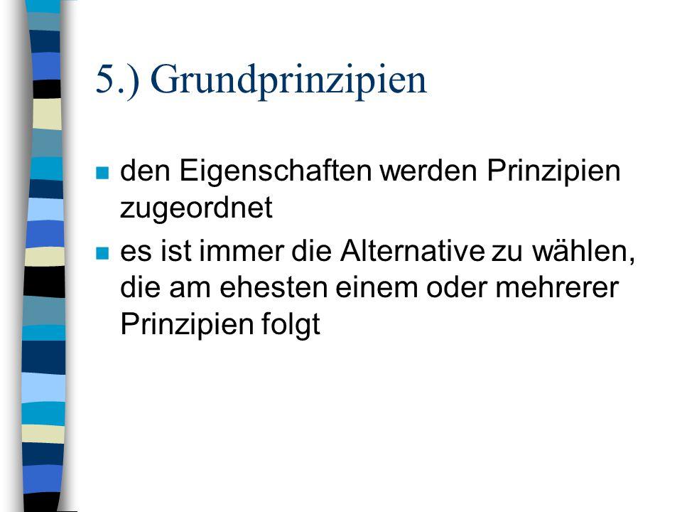 5.) Grundprinzipien den Eigenschaften werden Prinzipien zugeordnet