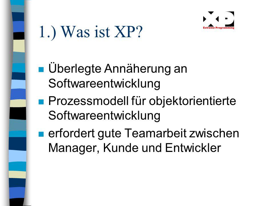 1.) Was ist XP Überlegte Annäherung an Softwareentwicklung