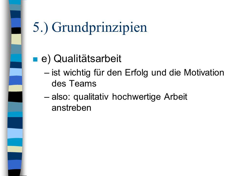 5.) Grundprinzipien e) Qualitätsarbeit