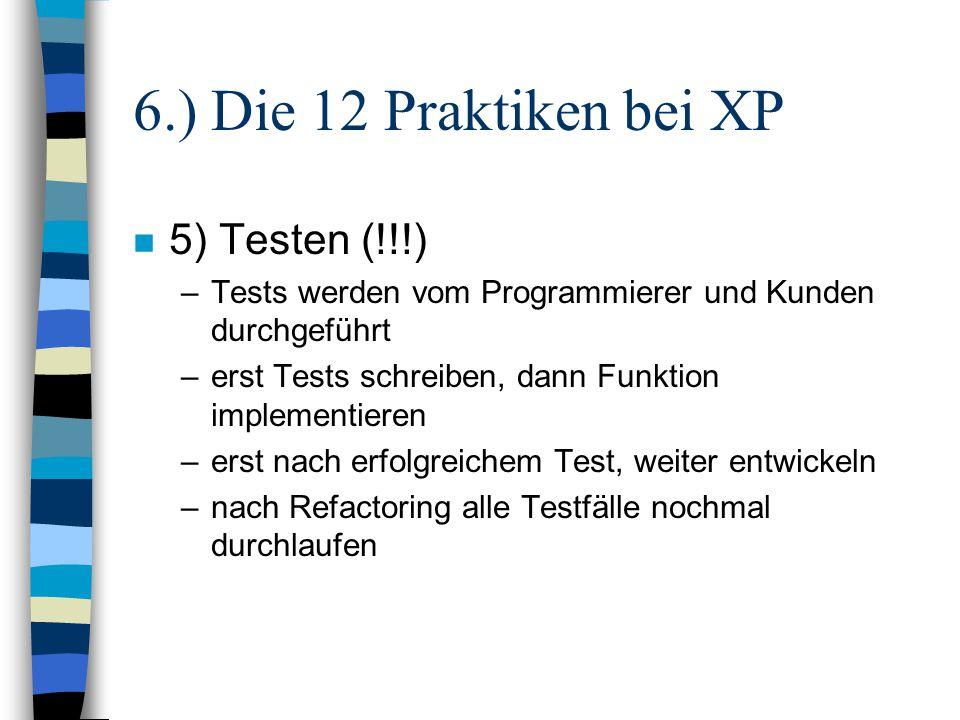 6.) Die 12 Praktiken bei XP 5) Testen (!!!)