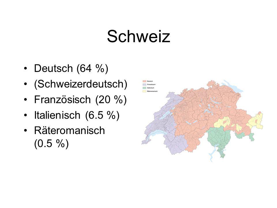Schweiz Deutsch (64 %) (Schweizerdeutsch) Französisch (20 %)