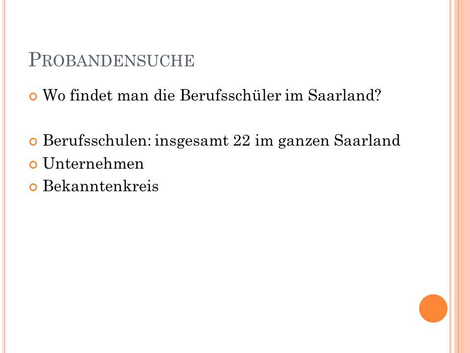 Probandensuche Wo findet man die Berufsschüler im Saarland