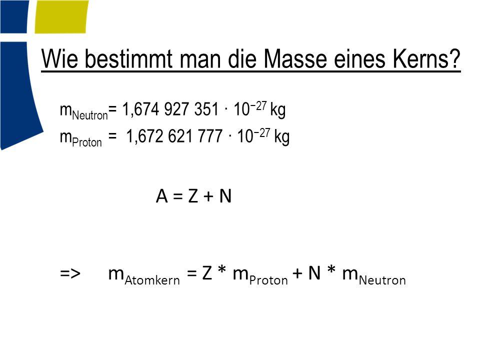 Wie bestimmt man die Masse eines Kerns