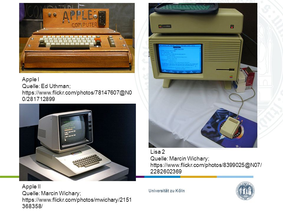 Apple I Quelle: Ed Uthman; https://www.flickr.com/photos/78147607@N00/281712899. Lisa 2.